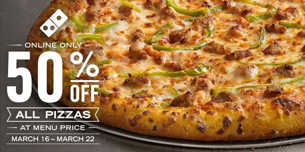 Dominos Pizza Half Off