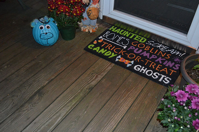 Decorating Your Home for Fall on a Budget + Teal Pumpkin  ~ 004814_Large Halloween Doormats